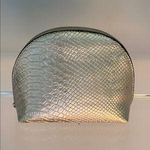 H&M Metallic Silver Snakeskin Cosmetic Makeup Bag